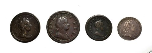 George I, A Collection of 4 x Coins consisting of: 1723 sixpence. Obv: Laureate and draped bust of