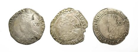 3 x Charles I Shillings consisting of: 1638 - 1639 shilling. 6.19g, 30.5mm, 3h. Tower mint under the