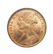 Victoria, 1873 Penny. ''Bun head'' type. Obv: 6, Laureate and draped bust left, hair tied in a