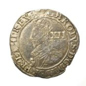 Charles I, 1631 - 1632 Shilling. 5.84g, 31.6mm, 12h. Tower mint under the king, mintmark rose.