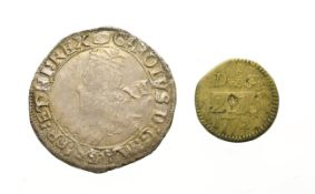 Charles I, 1636 - 1638 Shilling. 5.91g, 31.5mm, 12h. Tower Mint under king, mintmark tun. Obv: Large