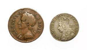 Charles II, 2 x Coins consisting of: Undated (1662) maundy groat. Obv: Crowned bust of Charles II