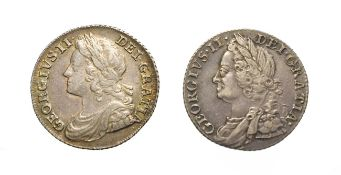 George II, 2 x Silver Shillings consisting of: 1739 Shilling. Obv: Laureate and draped bust of
