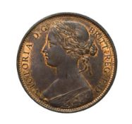 Victoria, 1862 Penny. ''Bun head'' type. Obv: 6, Laureate and draped bust left, hair tied in a