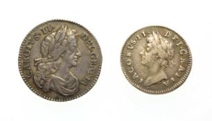 Charles II, 1674 Sixpence. Obv: Laureate and draped bust of Charles II right. Rev: Cruciform