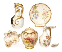 A collection of Royal Worcester blush ware, including a lizard handled ewer painted with an owl,
