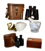 Two pairs of leather cased binoculars including Carl Zeiss Jena 7x50, brass wall sconce with cut