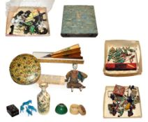 A quantity of assorted Chinese miniature pottery figures, some carrying lanterns, others pulling a