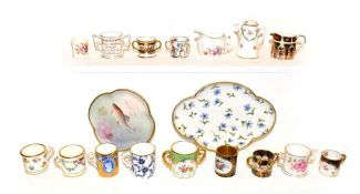 A tray of miniature porcelain tankards and dolls house miniatures, including Royal Crown Derby,