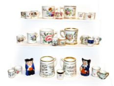 A collection of miniature porcelain tankards including Royal Crown Derby, Royal Worcester and