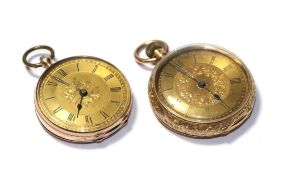 Two lady's fob watches, with cases stamped 9ct and 18k