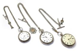 Three silver open faced pocket watches, with two attached silver curb link chains and attached