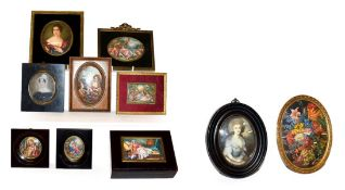 A collection of portraits and other miniatures including a pair of religious, Gainsborough style,