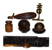 Assorted wooden items including a pair of period oak frieze carvings decorated with putti, Maori