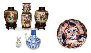 A Japanese Meiji period Imari bowl and other Chinese ceramics, to include a pair of poychrome ginger