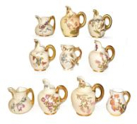 Ten Royal Worcester blush ware jugs including Victorian, mostly flat back and also including a