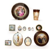A collection of portrait miniatures and other miniature paintings, together with a Doulton Lambeth