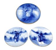 A pair of Royal Doulton Blue Children circular plates, underglaze green factory mark, 20cm and a