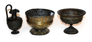 An 18th century Indian bronze repousse decorated bowl (a.f.) together with a 19th century