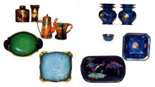 Two trays of Carlton ware, Maling and Rosental pottery to include, a Swallows vase, 15cm Paradise