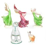Four Art Deco Katzhutte (Thuringia) figures, modelled as female dancers, tallest 27cm and a German