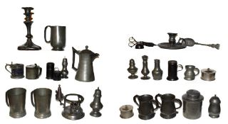 Quantity of assorted mainly 19th century pewter comprising a plates, tankards, pepperettes,