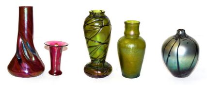 Two Art Nouveau Austrian iridescent glass vases, 21.5cm and 25cm (chips to rims) and three other