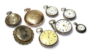 Two lady's silver pocket watches, three lady's fob watches with cases stamped 0.800 and fine silver,