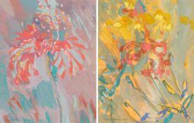 Irene Lesley Main (b.1959) Scottish ''Scarlet Flower, Sanibel'' Signed, mixed media, together with a