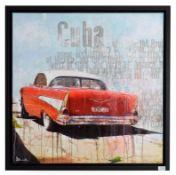 Markus Haub (b.1972) German ''Cuba'' Signed, oil on canvas, 80cm by 80cm Artist's Resale Rights/