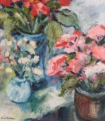 Anne Mendelow (b.1945) Study of red and white flowers in pots Signed, oil on canvas, 36.5cm by