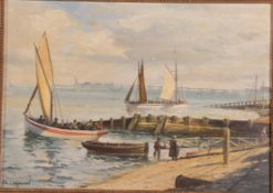 John Lewis Chapman (b.1946) ''Pleasure Boats Blackpool Central Beach 1900'' Signed, inscribed verso,