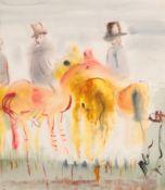 Michael Gibbison (b.1937) ''At the Meet'' Watercolour, 54cm by 46.5cm Artist's Resale Rights/Droit