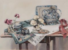 Ethel Walker (Contemporary) Scottish ''Table with cerise carnations'', 1992 Signed, watercolour,
