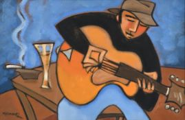 Marsha Hammel (b.1949) American ''Writing the Song'' Signed, oil on gesso, 38cm by 58.5cm Sold
