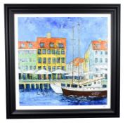 Katharine Dove (Contemporary) ''Nyhavn 17'' Signed, inscribed verso, acrylic on canvas, 75cm by 75cm