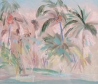 Irene Lesley Main (b.1959) Scottish ''Palm Trees, West Gulf Beach'' Signed and dated 1987, mixed