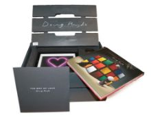 Doug Hyde (b.1972) ''Box of Love'' Crate containing four limited edition prints, a bronze