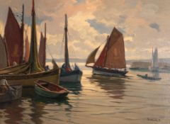 Paul André Jean Eschbach (1881-1961) French Fishing boats leaving a harbour Signed, oil on canvas,