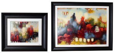 John and Elli Milan (Contemporary) ''Morning Mosaic V'' ''Urban Mosaic II'' Signed, mixed media,