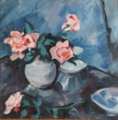 Anne Mendelow (b.1945) Still life of pink roses in a blue vase Signed, oil on canvas, 48cm by 48cm