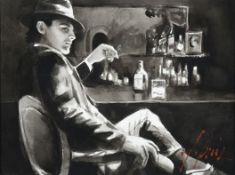 Fabian Perez (b.1967) Argentinean ''Whiskey at Las Brujas V (With Cigarette)'' Signed, monochromatic