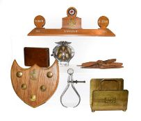 A tray of collectables RAF etc, including a perpetual calendar stand, model propellers, aircraft