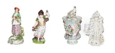 A Sampson pot pourri jar and cover after Derby 25.5cm high, a similar Chelsea style figure of a