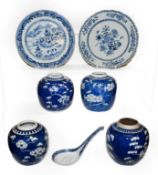 Two 18th century Chinese blue and white plates, four later ginger jars and a spoon (one tray) . Both