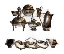A tray of assorted silver plated wares including two butter coolers, hot water jug with rattan