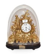 A 19th century French gilt metal cased timepiece, under glass dome, 35cm high including dome