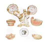 Four pieces of Worcester Locke & Co. blush ware, a Moore brothers figural posy vase, Hammersley