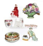 A tray of assorted ceramics including Noritake powder bowl decorated with a country scene, two Royal