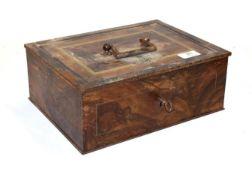 A World War II German Third Reich grain simulated tole ware metal strong box, marked Deuteche